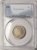 1903 PCGS MINT STATE 66 LIBERTY NICKEL, WELL STRUCK LUSTROUS COIN W/  ORIGINAL TONING
