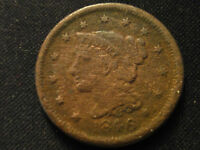 1846 BRAIDED HAIR LARGE CENT CLEAR 4 FIGURE DATE BK