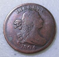 NICE 1804 DRAPED BUST HALF 1/2 CENT   ROTATED REVERSE   LOT P21