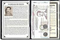 SADDAM HUSSEIN SET OF 7 BANKNOTES AND 2 COINS WITH STORY CERTIFICATE AND ALBUM