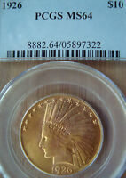 1926 $10 GOLD INDIAN PCGS MS64 UNCIRCULATED