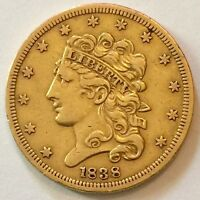 1838 CLASSIC HEAD $5 GOLD  XF DETAILS   LOW MINTAGE OLD ESTATE FIND