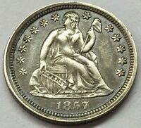 1857 SEATED LIBERTY SILVER DIME WITH FULL LIBERTY U.S. COIN  FREE SHIP & TRACK