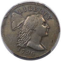 1796 1C FLOWING HAIR LARGE CENT LIBERTY CAP S-84 PCGS EXTRA FINE 45