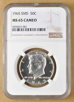 1965 SMS KENNEDY SILVER HALF DOLLAR NGC MS65 CAMEO