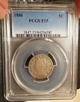 1886 PCGS F15 FINE LIBERTY HEAD NICKEL KEY DATE AFFORDABLY PRICED TYPE COIN