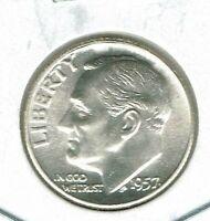 1957 PHILADELPHIA BRILLIANT UNCIRCULATED CIRCULATION STRIKE ROOSEVELT SILVER DIME
