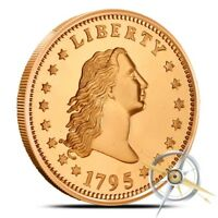 1 OZ COPPER ROUND   FLOWING HAIR DOLLAR