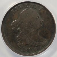 1804 1/2C PLAIN 4 DRAPED BUST HALF CENT WITH STEMS C-11 ANACS F-12