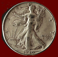 1940-S WALKING LIBERTY 90 SILVER HALF SHIPS FREE. BUY 5 FOR $2 OFF