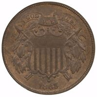 1865 TWO CENT NGC MINT STATE 65BN