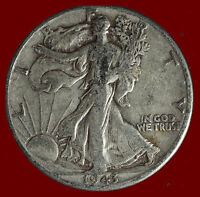 1943-D WALKING LIBERTY 90 SILVER HALF SHIPS FREE. BUY 5 FOR $2 OFF