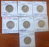 STANDING LIBERTY SILVER QUARTER 7 COINS LOT 1925 1926 PDS 1927 1928 1929