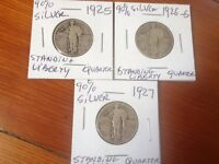 STANDING LIBERTY SILVER QUARTER 3 COINS LOT 1925P 1926S 1927P