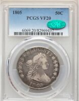 1805 DRAPED BUST SILVER HALF DOLLAR PCGS CAC VF20  SHARP TYPE COIN