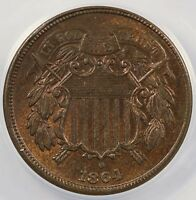 1864 2C TWO CENT PIECE LARGE MOTTO ANACS MINT STATE 64 RB