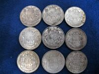 LOT OF 9 SILVER 50 CENTS   MIX OF 1950'S AND 60'S   80  SILVER