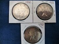 LOT OF 3 CANADIAN SILVER DOLLARS 1952 1953 & 1963   80  SILVER
