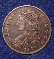1830 50C CAPPED BUST HALF DOLLAR  NICE EVEN COLOR