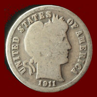 1911 P BARBER 90  SILVER DIME SHIPS FREE. BUY 5 FOR $2 OFF