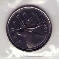 2001 P CANADA 25 CENT PROOF LIKE SEALED IN CELLO FROM PL SET