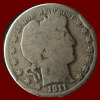 1911 P BARBER 90  SILVER HALF DOLLAR SHIPS FREE. BUY 5 FOR $2 OFF