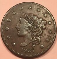 1837 1C BN CORONET HEAD CENT.   DETAILED EARLY AMERICAN COPPER COIN