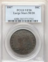 1807 PCGS VF30 LARGE STARS 50/20 CAPPED BUST SILVER HALF DOLLAR OVERTON TYPECOIN