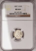 1857 NGC MINT STATE 66 SEATED HALF DIME, TOP OF GRADE, A SUPERB LUSTROUS WHITE GEM