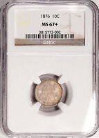 1876 NGC MINT STATE 67 SEATED DIME, LUSTROUSLY ORIGINAL PQ PIECE,  REGISTRY QUALITY