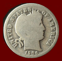 1906-P BARBER 90 SILVER DIME SHIPS FREE. BUY 5 FOR $2 OFF