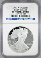 2007-W $1 AMERICAN SILVER EAGLE PF-70 ULTRA CAMEO EARLY RELEASES NGC CERTIFIED
