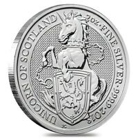 2018 GREAT BRITAIN 2 OZ SILVER QUEEN'S BEASTS  UNICORN OF SCOTLAND  COIN BU