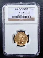 1986 $10 AMERICAN GOLD EAGLE COIN NGC MS 69 BRILLIANT UNCIRCULATED