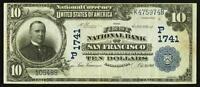 SAN FRANCISCO CA   $10 1902 DATE BACK FR. 619 THE FIRST NB CH.   P 1741