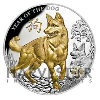 2018 SILVER YEAR OF THE DOG   5 OZ. SILVER GOLD GILDED DOG