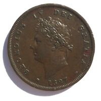 1827 PENNY VF  EXTREMELY RARE KEY DATE GEORGE IV COPPER 1827