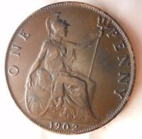 1902 GREAT BRITAIN PENNY   HIGH GRADE    STRONG VALUE   GREA