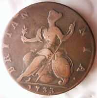 1733 GREAT BRITAIN 1/2 PENNY   HIGH QUALITY   HARD TO FIND C
