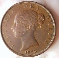 1853 GREAT BRITAIN 1/2 PENNY   HIGH QUALITY   HARD TO FIND C