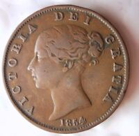 1854 GREAT BRITAIN 1/2 PENNY   HIGH QUALITY   HARD TO FIND C