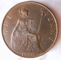 1900 GREAT BRITAIN PENNY   HIGH GRADE AU WITH RED HINTS   GR