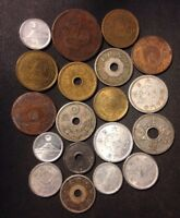 VINTAGE JAPAN COIN LOT    1886 1950   19 COLLECTIBLE IMPERIA