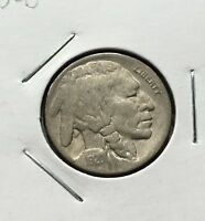 GOOD LOOKING 1920 D BUFFALO NICKEL WITH A FULL HORN   SCRATCHED OBVERSE