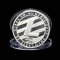 LITECOIN COINS VIRES IN NUMERIS COMMEMORATIVE COIN SILVER PLATED