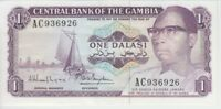GAMBIA BANKNOTE P4 1 DALASI SIG 9 NOT IN PICK PREFIX AC EF