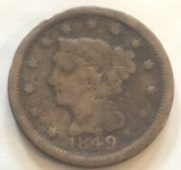 1849 LARGE CENT IN GOOD CONDITION W2