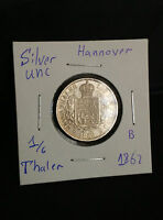 HANNOVER 1/6 THALER 1862 B SILVER UNC MS COIN FULL LUSTER SUPERB GERMAN STATE