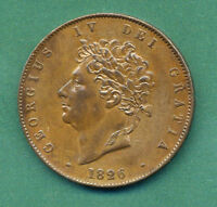 GREAT BRITAIN UK 1826 1/2 HALF PENNY GEORGE IV HIGH GRADE COIN