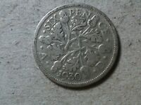 GREAT BRITAIN 6 PENCE SIXPENCE  1930  KGV WEDDING COIN GIFT  SILVER